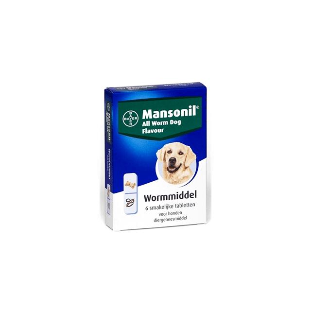 Mansonil All Worm Dog Tasty Bone - 6 Tabletten