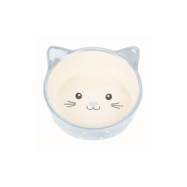 Happy Pet Voerbak Kat Polka Blauw / Creme -300 ml